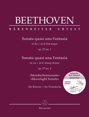 "Beethoven, Ludwig van: Sonata quasi una Fantasia for Pianoforte in E-flat major op. 27 no. 1 / Sonata quasi una Fantasia for Pianoforte in C-sharp minor op. 27 no. 2 ""Moonlight Sonata"""
