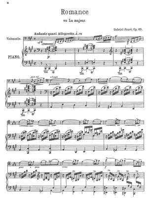 Fauré, Gabriel: Romance A major op. 69 for cello and piano