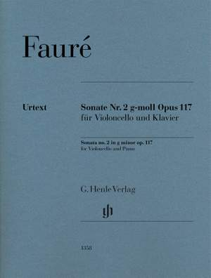 Fauré: Cello Sonata No. 2 in G minor, Op. 117 Product Image