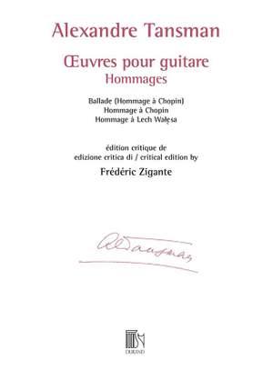 Alexandre Tansman: Œuvres pour guitare - Hommages