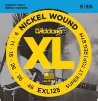 D'Addario EXL125 Nickel Wound Electric Guitar Strings, Super Light Top/ Regular Bottom, 09-46