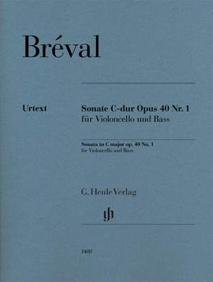 Bréval, Jean-Baptiste: Sonata in C major, Op. 40 no. 1 for Violoncello and Bass Product Image
