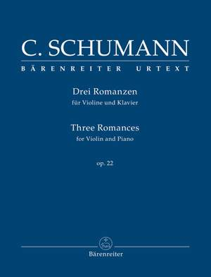 Schumann, Clara: Three Romances for Violin and Piano Op. 22 Product Image